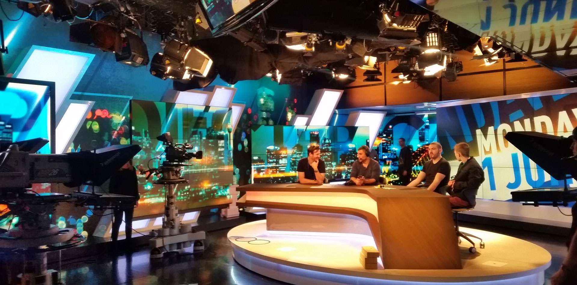 Channel 10's The Project studio space making use of Commercial TVs and Illuminated fabric frames
