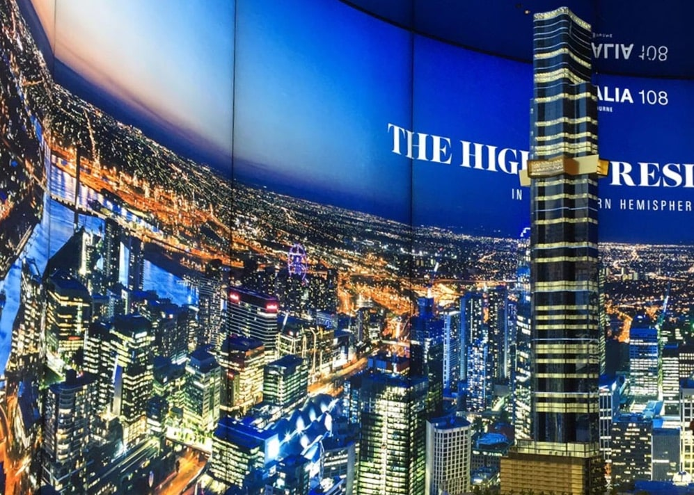 Illuminated fabric frame of city skyline for 108 Display suite