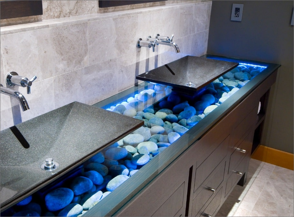 LED light panels underneath modern wash basin setup