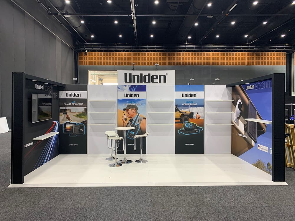 Uniden display for trade show using our modular system and commercial TV