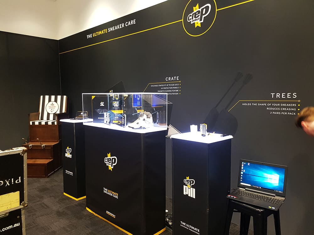 Creps promotional display using our Fabric Frames and LED Lighting Panels