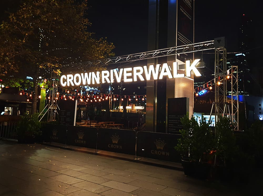 Crown Riverwalk entrance sign using our 3D lettering service