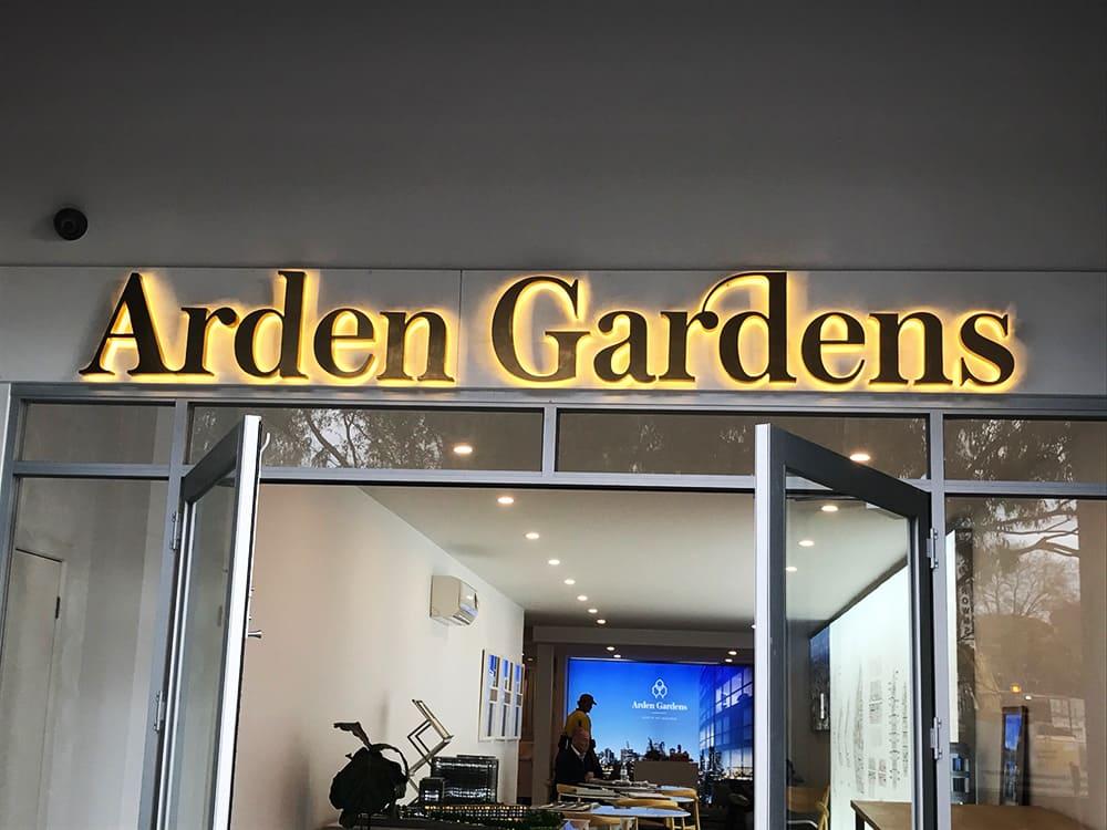 3D signage of Arden Gardens logo