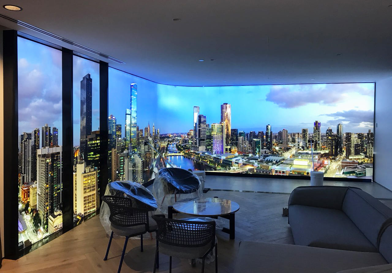 Illuminated fabric frame of city skyline for Flinders Bank