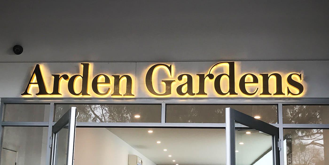 3D signage Arden Gardens