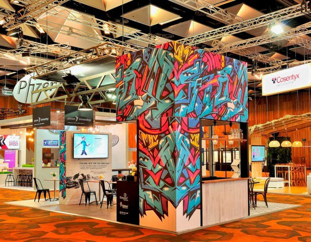 Colourful FLX frame for Yanssen at trade show