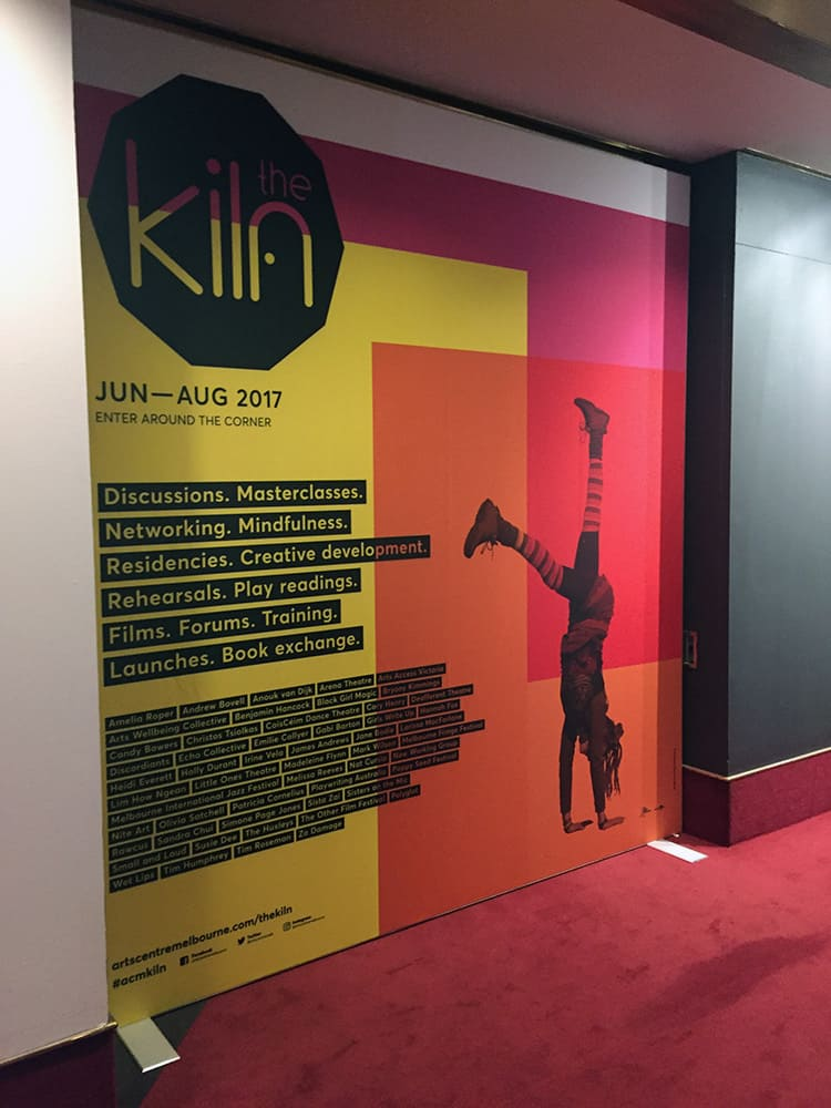 Promotional fabric frame for the Klin exhibition at the National Gallery in Melbourne