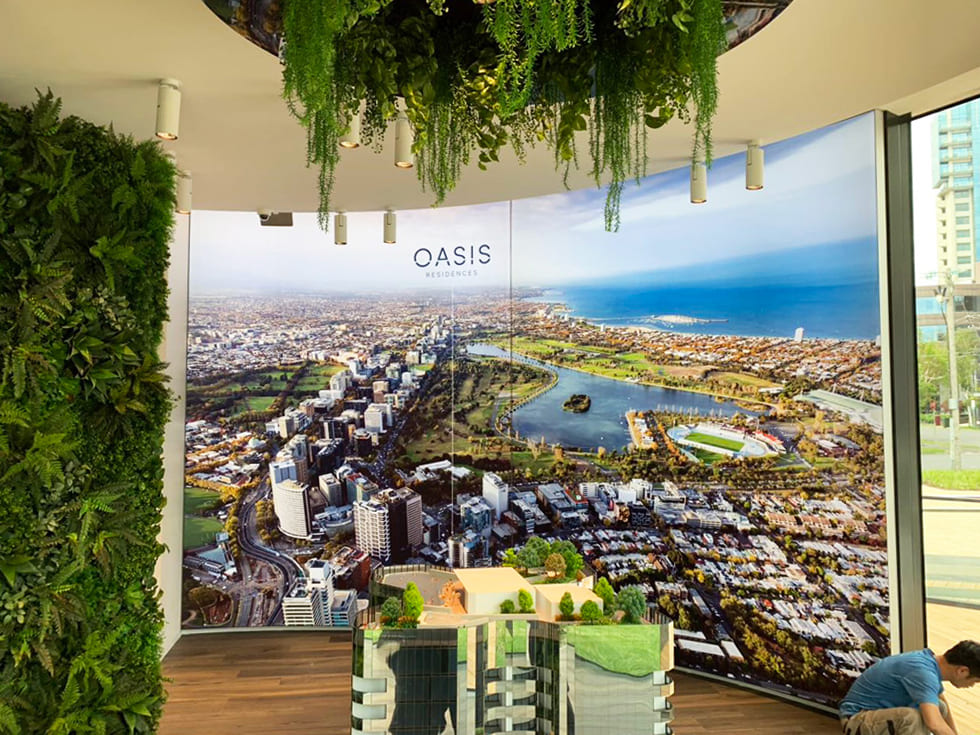 Illuminated fabric frame of city skyline for Oasis Displays