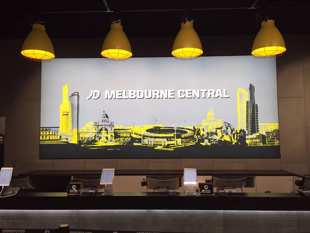 A city skyline Illuminated Fabric Frame for JD Sports