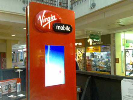 Virgin Mobile logo and LED display for a promotional Modular System