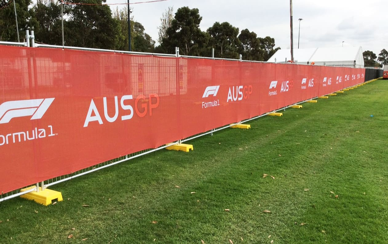 Formula 1 red fence skrim on safety fence