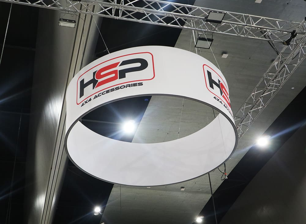 Curved HSP banner hanging from roof