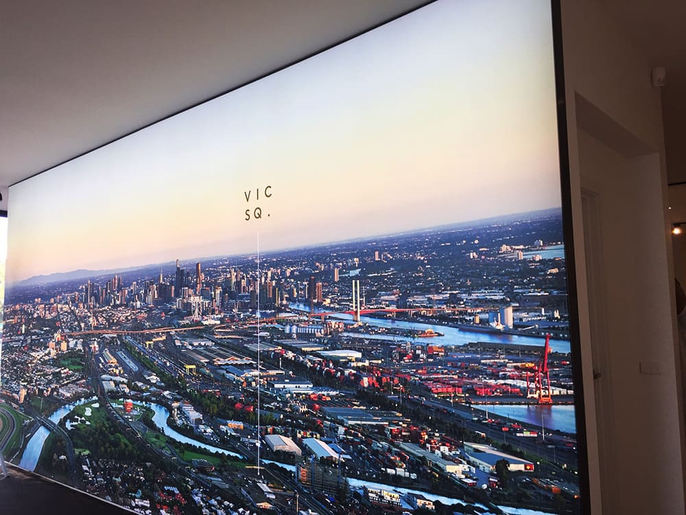 Illuminated fabric frame of city skyline for Grow Developments