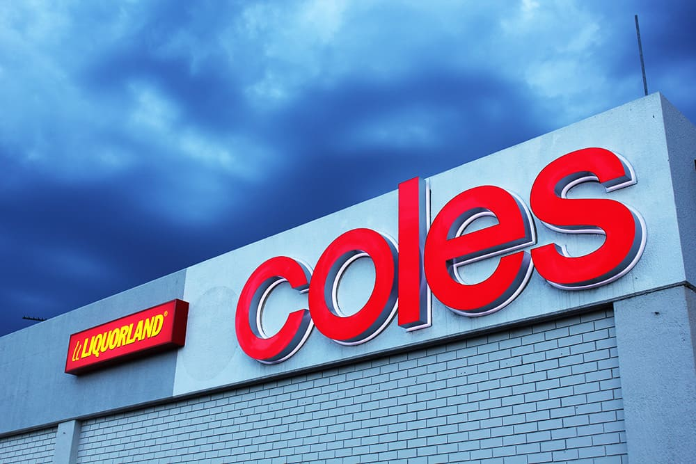 Coles promotional 3D Lettering on side of building