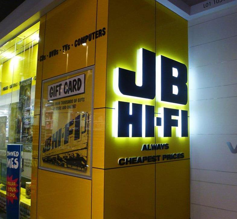 Illuminated yellow and black JB Hi-Fi 3D Lettering