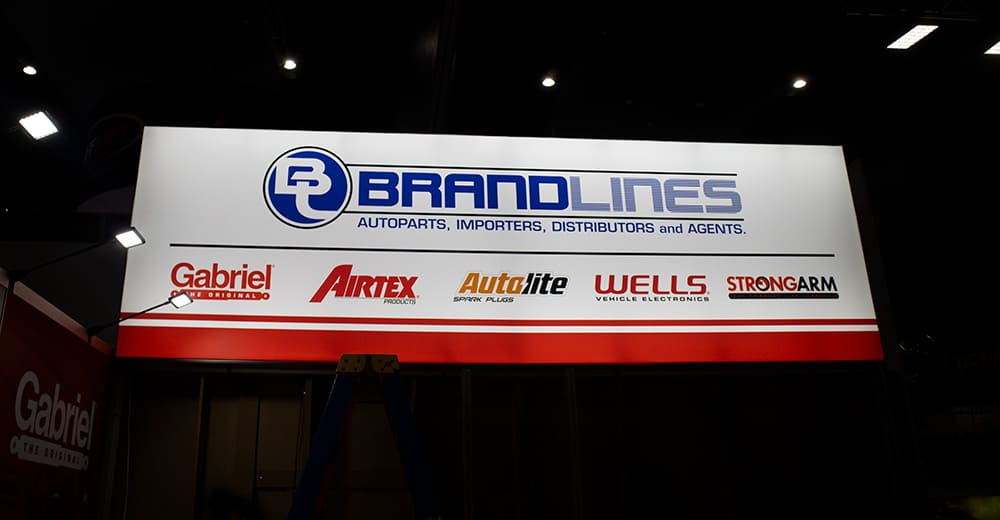 Brandlines Illuminated Fabric Frame featuring logo and sponsors