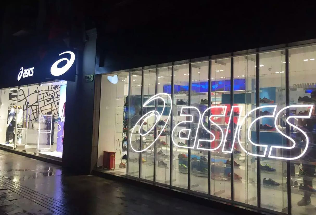 Transparent LED Display at the front of Asics store