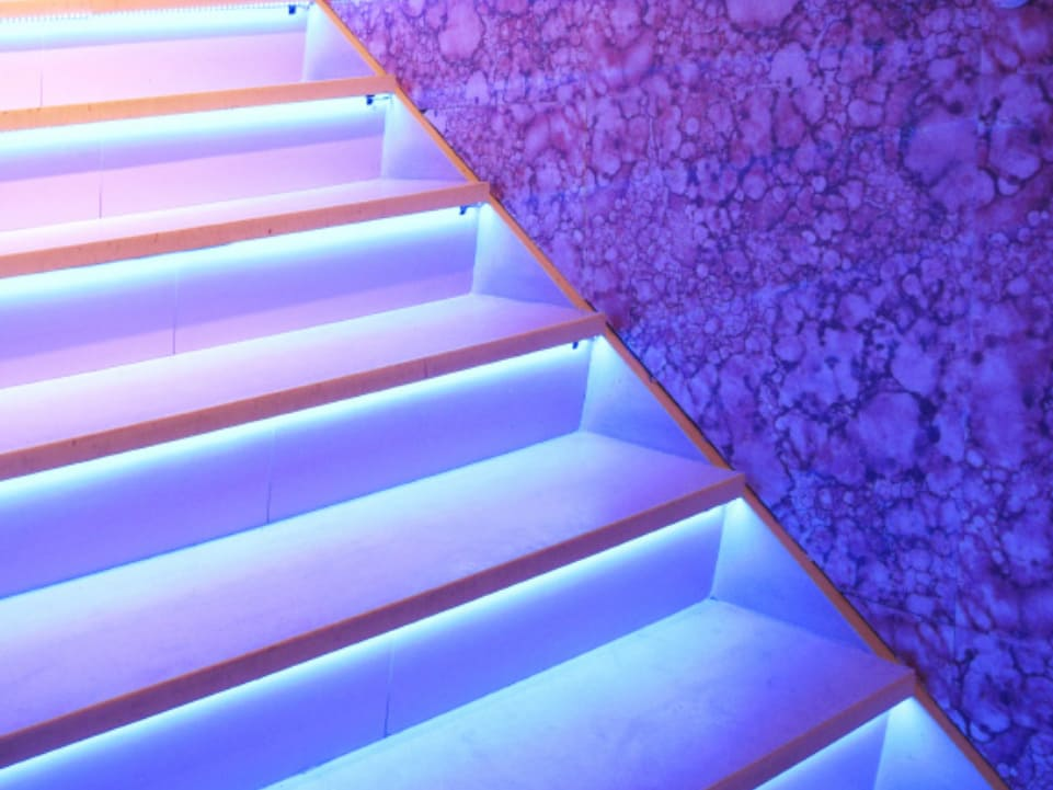 Staircase with LED Extrusions underneath each step