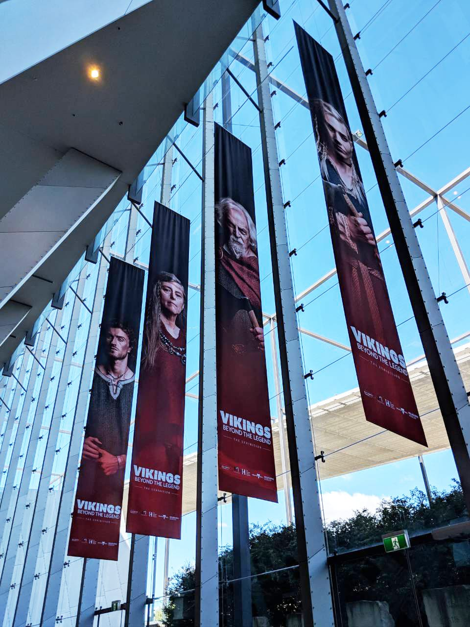 Banners promotion a Viking exhibition at the Melbourne Museum