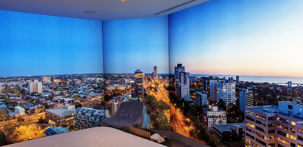 Illuminated fabric frame of city skyline for St Kilda Display suite