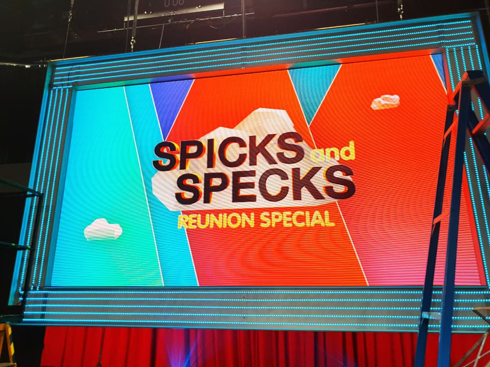 The backdrop of Spicks and Specks television studio using an Illuminated Fabric Frame