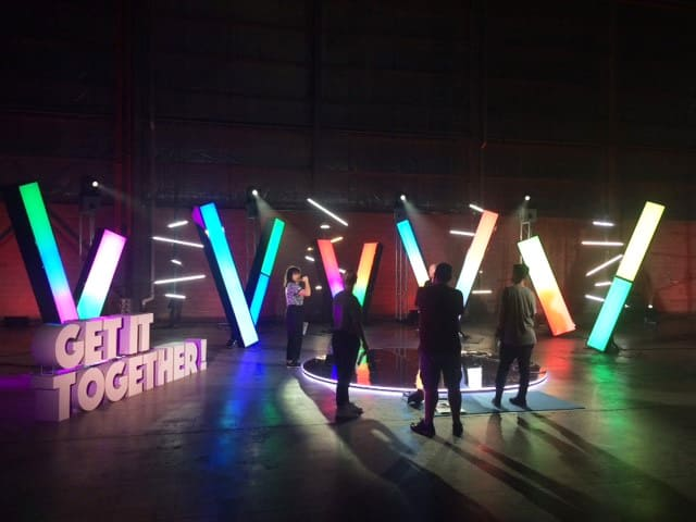 Multicoloured LED strips decorate the Get It Together television show studio space