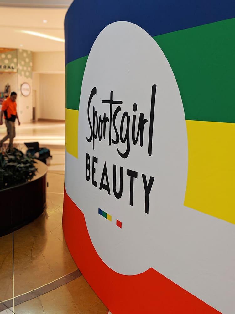 Colourful storefront Sportsgirl fabric frame