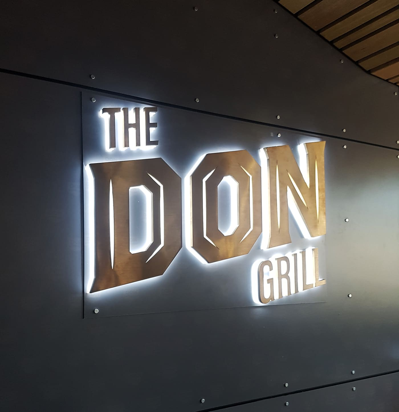 Gold and white 3D lettering for The Don Grill restaurant