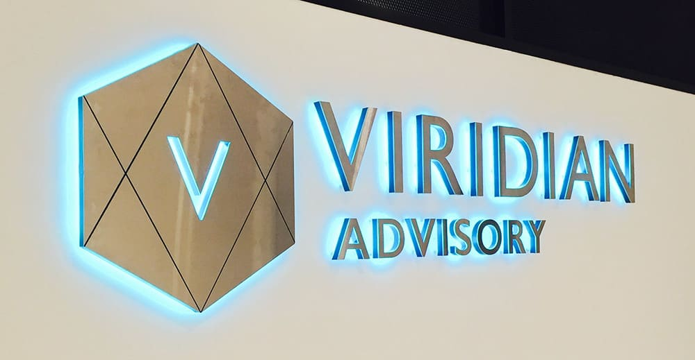 Viridian Advisory logo illuminated with blue LED 3D lettering