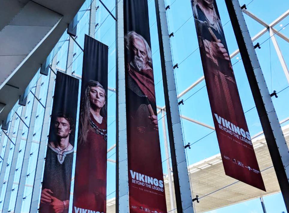 Large banners for the Viking display at the Melbourne Museum