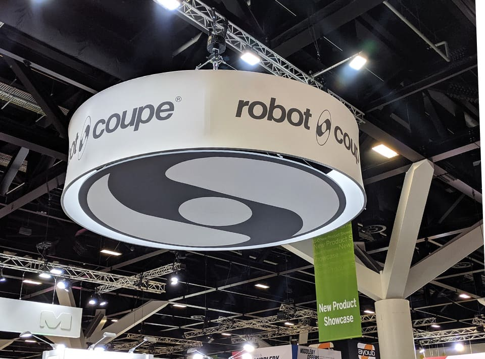 Curved Robot Coupe display banner hanging from roof