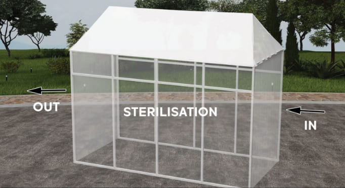 POP UP OUTDOOR DISINFECTION ROOM - PEAKED ROOF